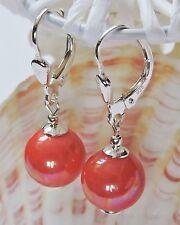 Perlen Ohrringe Silber 925 Muschelkernperlen 9 mm. Farbe - Koralle mit Brisur