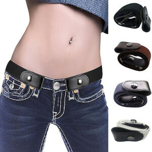 Womens Buckle-free Elastic No Bulge No Show Invisible Waist Belt For Jeans Pants