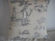 "'COUNTRY SCENE' COTTON CUSHION COVER 17""/43cm Charcoal, Stone, Black, White"