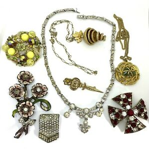 Vintage (8) Pieces Repair Harvest Craft Lot Pin Necklace Includes BSK Selini