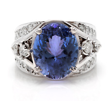 7.00 Carats NATURAL TANZANITE and DIAMOND 14K Solid White Gold Ring
