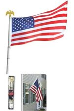 Deluxe U.S. Flag Pole Set W/ Golden Eagle Top by Americana, 6-Foot (3 x 5 Flag)