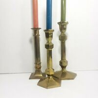 Vintage Brass Candlesticks Set Of 3 Mid Century Modern Boho Decor