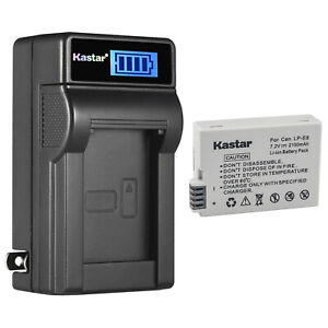 Kastar 2x LP-E8 + Charger For Canon Rebel T2i T3i T4i T5i Kiss X5 EOS 550D 650D
