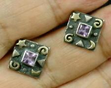 Amethyst Square .925 Sterling Silver 22K Gold Moon Star Post Stud Earrings