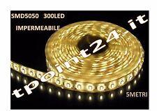 STRISCIA LED 24 VOLT 5METRI SMD5050 300 led COLORE BIANCO CALDO IMPERMEABILE