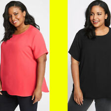 Ex M&S 18-32 Black Yellow Pink Round Neck Short Tunic Top Plus Size CURVE