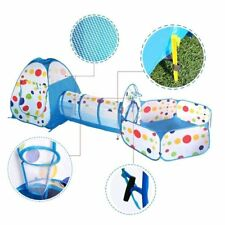 Portable Play Tent Tunnel Playground 3-in-1 Pop-up Indoor Cubby-Tube-Teep - Blue