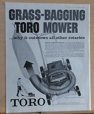 1960 magazine ad for Toro lawn mowers - Grass bagging, outlaws all others