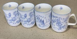 Set Of 4 Rose of England Bone China Blue White Grape Leaves Mug Tea Coffee Cup