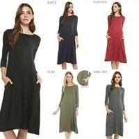 REBORN Casual scoop Neck Tunic T-Shirt Loose midi swing Dress Plus  1x 2x 3x