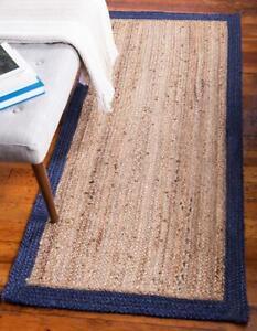 natural & navy blue Border braided rectangle jute rug floor area rug runner rugs