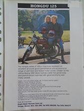 Hongdu 125 moto brochure c1993 texte anglais