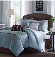 Cal King Size Comforter Set 7 Pcs Blue Brown Bedding Shams Pillows Skirt Pattern