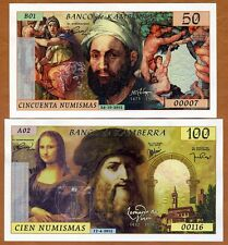 SET Kamberra,  50;100 Numismas, 2015-2018, UNC > Michelangelo, Leonardo da Vinci