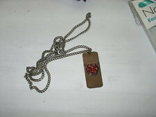 """MEDICAL ALERT BLANK 24"""" NECKLACE STAINLESS STEEL"""