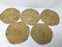 Set of 5 Vintage Woven Rattan Raffia Beige Trivets Potholders Boho Kitchen Wall