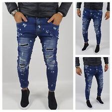 Jeans Pantalone Uomo Strappi Pittura Cotone Elastico Casual Toppe Blu Slim Fit