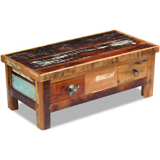 Wooden Coffee Table 2 Drawers Storage Handmade Solid Reclaimed Vintage Wood