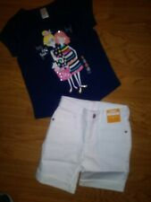 NWT Gymboree Girls Outfit Shirt 5-6 White Denim Shorts Size 6 Best Friends