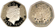 INGHILTERRA GREAT BRITAIN 50 PENCE 1998 25th ANNIVERSARY SILVER PROOF #6994A