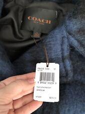 Coach Jacket Coat Size -m Dark Slate Wool Blend Plaid 100 Authentic