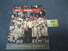 Oct 18, 1964 Baltimore Colts vs Greenbay Packers Program Ticket Stub