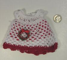 Handmade Small Doll Christmas Dress Crochet Little Girl Doll Dress Holiday