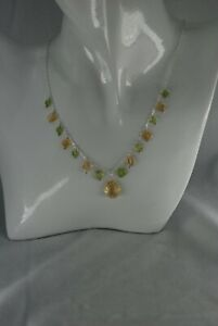 NATURAL CITRINE AND PERIDOT SOLID STERLING SILVER 17.5INCH STUNNING