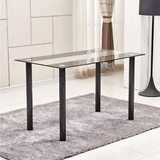 Modern Rectangular Dining Table Glass Metal Kitchen Dining Room Breakfast New