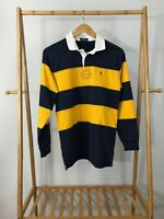 VTG Polo Ralph Lauren Boy's Pony Striped Long Sleeve Rugby Shirt Size YOUTH L