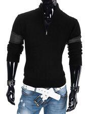 Sexy Herren Hoodie Pullover Pulli mit Reißverschluss Schwarz Größe L