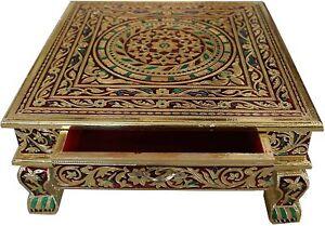 "15"" x 15"" Indian Bajot Bajoth Puja Chowki Table Low Table with Storage Drawer BM"