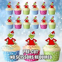 PRE-CUT The Grinch - Edible Cup Cake Toppers Decorations / Christmas Party