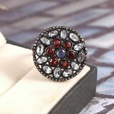 925 Sterling Silver Pave Rose Cut Diamond Ruby Topaz Gemstone promise Rings