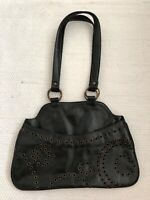 Jigsaw leather handbag, with brass rivets. Very attractive shoulder bag.