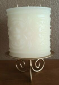 NEVER LIT Embossed Carved Etched 3 Wick Ivory Candle on Gold Pedestal Stand