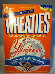 1996 NEW YORK YANKEES WORLD SERIES  18 OZ WHEATIES BOX  TOP INTACT  NICE SHAPE