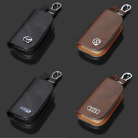 High Quality Leather Auto Car Logo Key Keychain Fob Case Holder Zipper Bag Cover