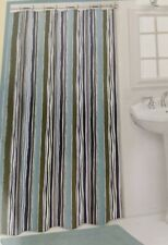 "St. Cloud Shower Curtain 70"" x 72"" River Stripes Pattern Blue Green Gray White"