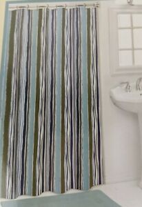 "St. Cloud Shower Curtain 70"" x 72"" River Stripes Pattern Blue Green Gray White"