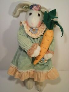 """Vintage Country Lace Inc Green Plush Chenille Fabric Bunny Rabbit 15"""" Carrot"""