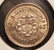 Uk Great Britain 1942 3 Pence - Silver - George Vi