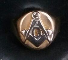 Vintage Masonic Men's 14k 2-tone Solid Gold Diamond Ring Sz.9.25  w 8.4 Grams.