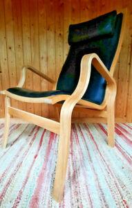 Armchair Club Chair Leather Vintage 60er Easy Chair Danish Westnofa Mathsson Era