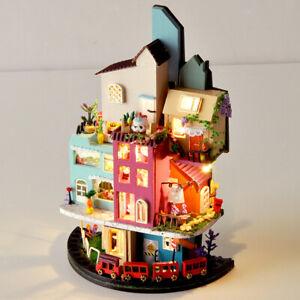 1/24 Wood Miniature LED Light Dollhouse Building Modern Kit Birthday Toys