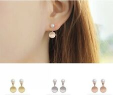 Ohrringe Ohrstecker 925 Silber rosegold/silber/gold Perle rund Kreis 2in1  NEU