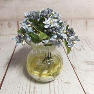 Faux Blue Flowers in Glass Vase Miniature Desk Decoration Forget-Me-Nots ?