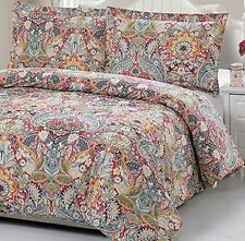 100% Cotton Paisley Pattern Duvet Cover Set Full queen 2 Pillowcases Included
