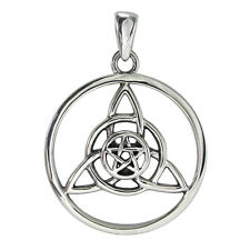 Sterling Silver Celtic Triquetra Small Pentacle Pendant Wiccan Pagan Jewelry